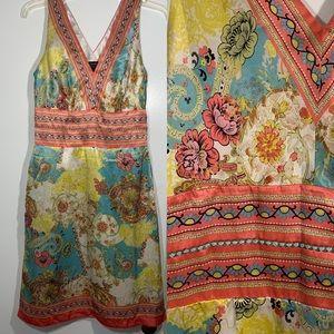 Nicole Miller Silk slip Dress Pastel Floral 4 boho